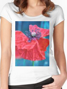 a Red poppy flower with blue background Women's Fitted Scoop T-Shirt
