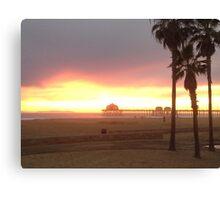 Pier at Sunset, Huntington Beach, California Canvas Print