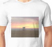 Perfect beach sunset, Lifeguard tower in California Unisex T-Shirt