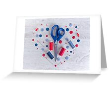 Sewing kit on a wooden table Greeting Card