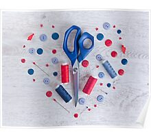 Sewing kit on a wooden table Poster
