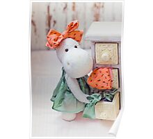 White hippo toy with textile and sewing accessory Poster
