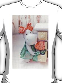 White hippo toy with textile and sewing accessory T-Shirt