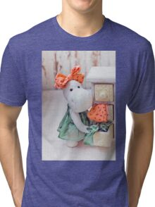 White hippo toy with textile and sewing accessory Tri-blend T-Shirt