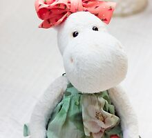White hippo toy with textile and sewing accessory by Oksana Ariskina
