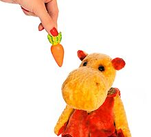 Isolated yellow hippo toy and hand with carrot by Oksana Ariskina