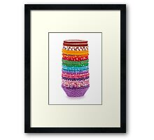 Colorful forms to make cupcakes from paper isolated over white background Framed Print