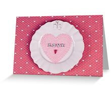Romantic holiday table setting, on fabric heart pattern Greeting Card