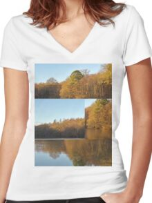 Autumn Reflections Mash Up  Women's Fitted V-Neck T-Shirt