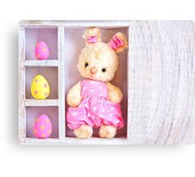 Rabbit bunny toy and easter eggs on the case  Canvas Print