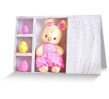 Rabbit bunny toy and easter eggs on the case  Greeting Card