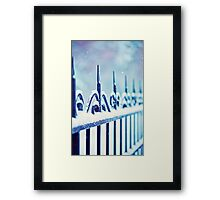 metal decorative fence fragment with snow Framed Print