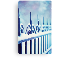 metal decorative fence fragment with snow Canvas Print