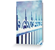metal decorative fence fragment with snow Greeting Card