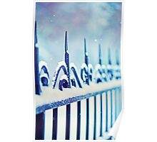 metal decorative fence fragment with snow Poster