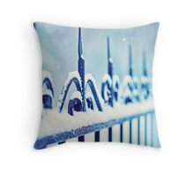 metal decorative fence fragment with snow Throw Pillow