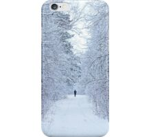 frozen winter road on the forest with along person iPhone Case/Skin