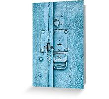 Close up of padlock and old metal hasp on an vintage door Greeting Card