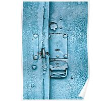 Close up of padlock and old metal hasp on an vintage door Poster