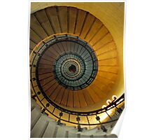 Spiral staircase in lighthouse, looking up, France. Poster