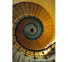 Spiral staircase in lighthouse, looking up, France. Photographic Print