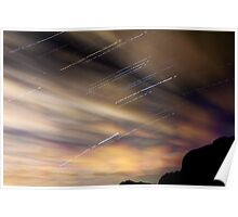 Cornwall Star trails and Clouds Poster