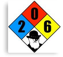 Charles Darwin birthday hazard sticker Canvas Print