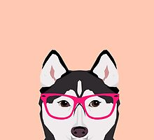 Kamri - Siberian Husky with Pink Hipster Glasses, Cute Retro Dog, Dog, Husky with Glasses, Funny Dog by PetFriendly