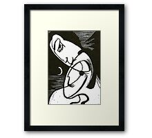 The Kiss At Moonlight With Ocean Framed Print