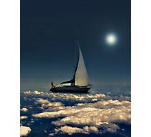 Navigating Trough Clouds Dreamy Collage Photography Photographic Print