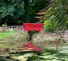 small red pond bridge by morrbyte