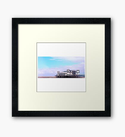 Tranquil British Beach & Pier Framed Print