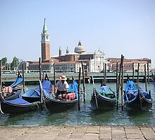 Gondolas lined up in Venice by ljsafran