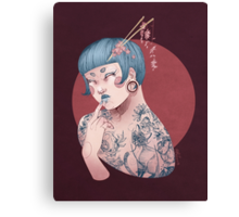 Blue Willow Tattoo Girl Canvas Print