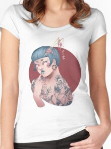 Blue Willow Tattoo Girl Women's Fitted Scoop T-Shirt