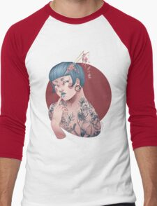Blue Willow Tattoo Girl Men's Baseball ¾ T-Shirt