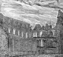 My pencil drawing of Whitby Abbey, Yorkshire - all products Sticker