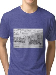 My pencil drawing of Steam Threshing in Yorkshire Tri-blend T-Shirt