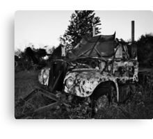 Old Farm Truck Black and white Canvas Print