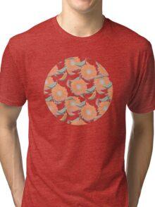 Peach Floral Tri-blend T-Shirt