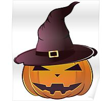 Pumpkin in witch hat Poster