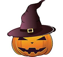 Pumpkin in witch hat Photographic Print