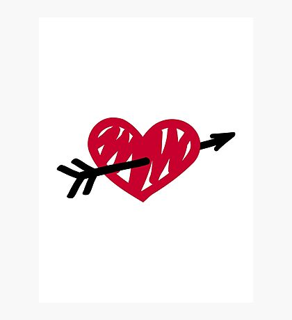Red heart arrow Photographic Print