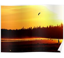 Amber Sunset At Long Beach Poster