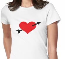 Red heart arrow Womens Fitted T-Shirt