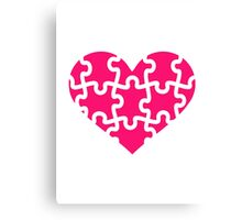 Pink heart puzzle Canvas Print