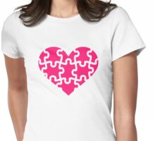 Pink heart puzzle Womens Fitted T-Shirt