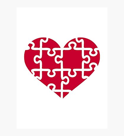 Red heart puzzle Photographic Print