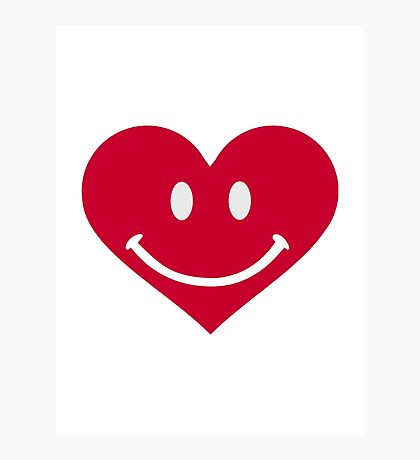 Red heart smiley happy Photographic Print