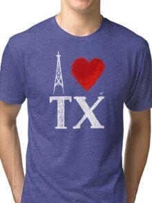 I Heart Texas (wht, remix) by Tai's Tees Tri-blend T-Shirt
